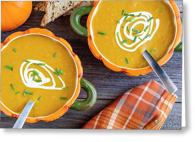 Pumpkin Soup In Pumpkin Bowls Greeting Card by Teri Virbickis