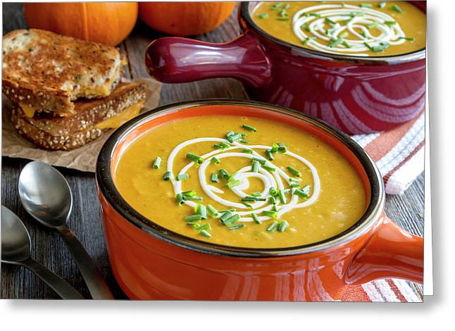 Pumpkin Squash Soup For Dinner Greeting Card by Teri Virbickis