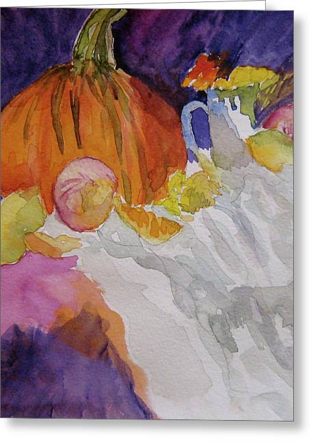 Greeting Card featuring the painting Pumpkin Still Life by Beverley Harper Tinsley