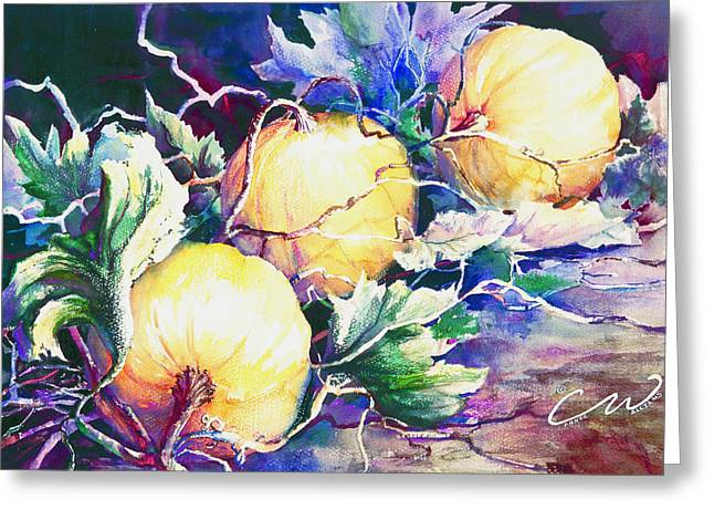 Pumpkin Time Greeting Card by Connie Williams