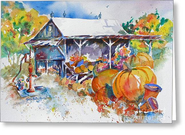 Greeting Card featuring the painting Pumpkin Time by Mary Haley-Rocks