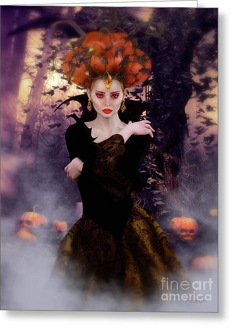 Pumpkin Witch Greeting Card by Shanina Conway