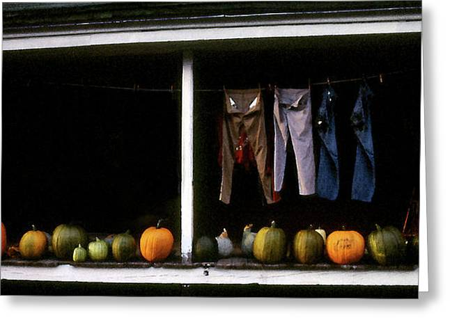 Pumpkins And A Washline Greeting Card