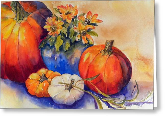 Pumpkins And Blue Vase Greeting Card