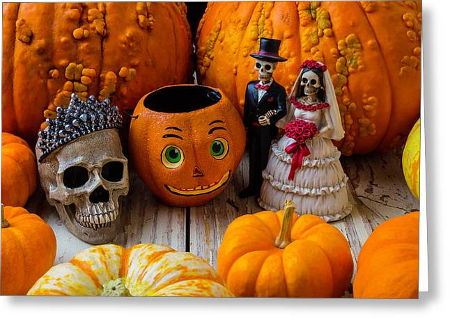 Pumpkins And Bride And Groom Greeting Card