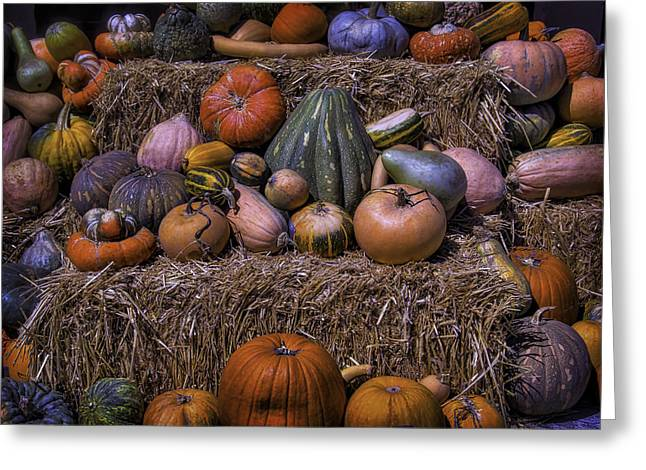 Pumpkins And Hay Blaes Greeting Card by Garry Gay