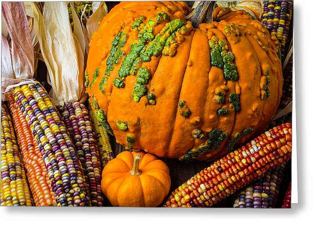 Pumpkins And Indian Corn Harvest Greeting Card