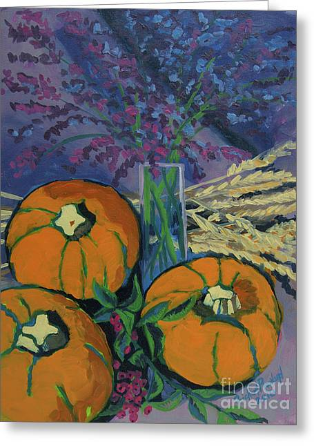 Greeting Card featuring the painting Pumpkins And Wheat by Erin Fickert-Rowland