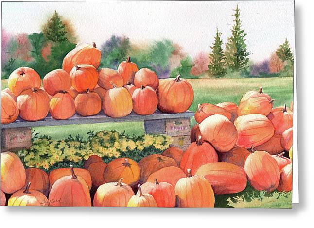 Pumpkins For Sale Greeting Card by Vikki Bouffard