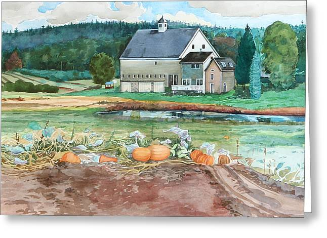 Pumpkins In The Field Greeting Card