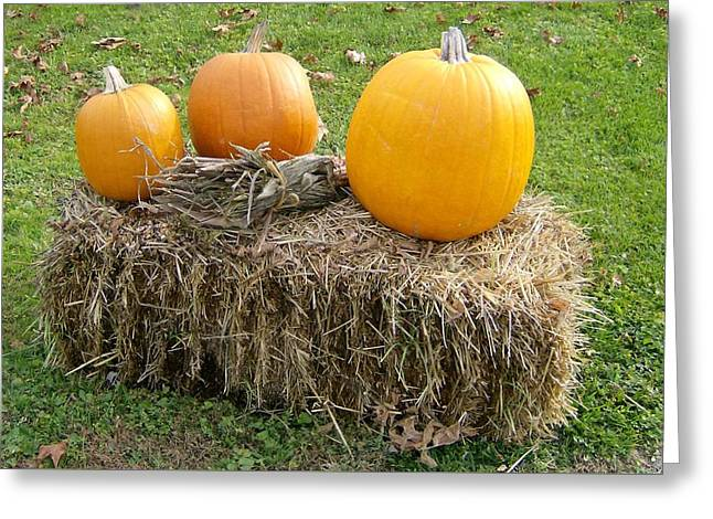 Pumpkins On A Haystack Greeting Card