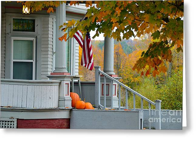 Pumpkins On A Vermont Porch Greeting Card by Catherine Sherman