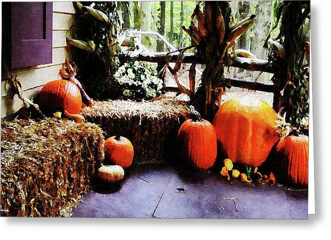 Pumpkins On Porch Greeting Card by Susan Savad