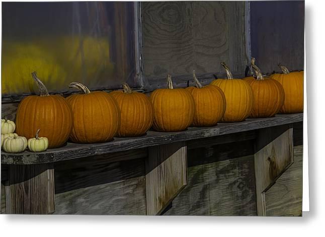 Pumpkins On Shelf Greeting Card