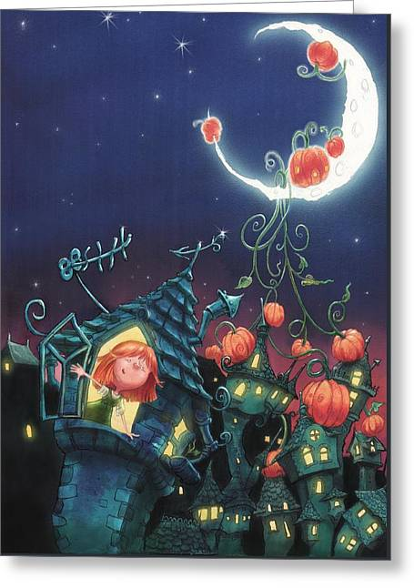 Pumpkins On The Moon Greeting Card by Andy Catling