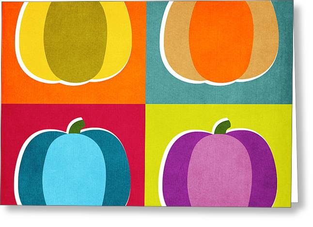 Pumpkins- Pop Art By Linda Woods Greeting Card