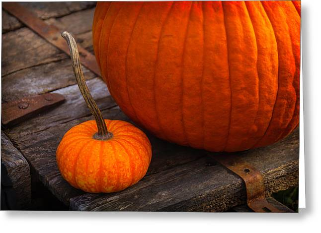 Pumpkins Sitting On Wooden Wagon Greeting Card