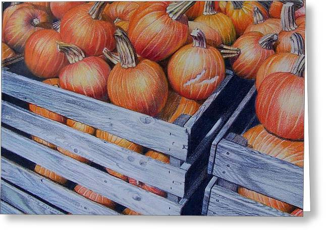 Greeting Card featuring the painting Pumpkins Two by Constance Drescher