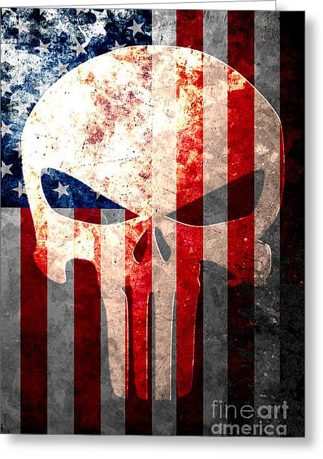 Punisher Skull And American Flag On Distressed Metal Sheet Greeting Card