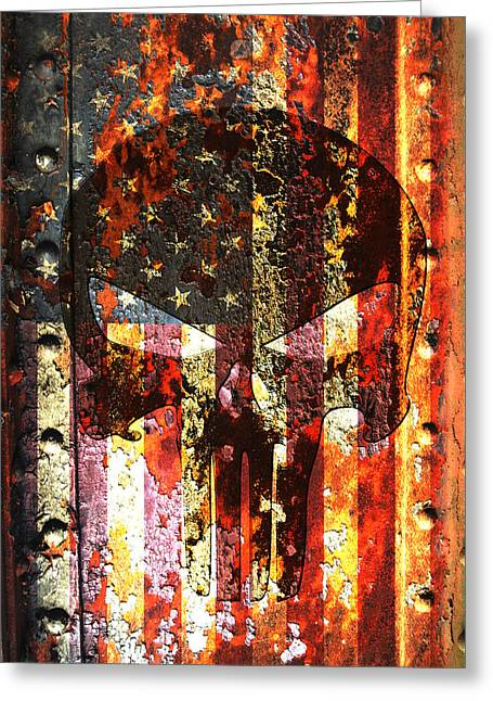 Punisher Skull On Rusted American Flag Greeting Card by M L C