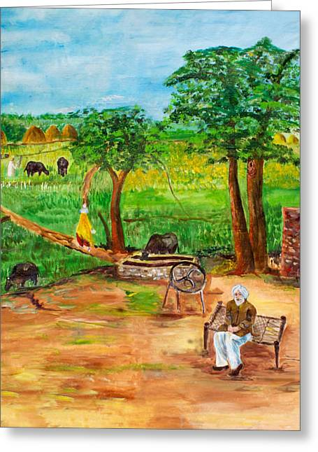 Punjabi Farmer Greeting Card