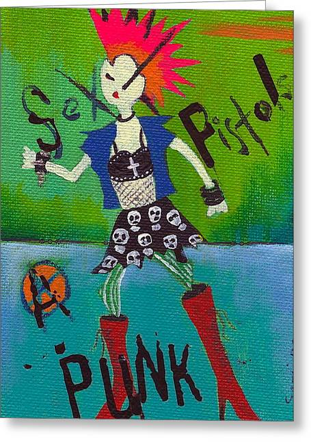 Punk Rocks Her Greeting Card by Ricky Sencion