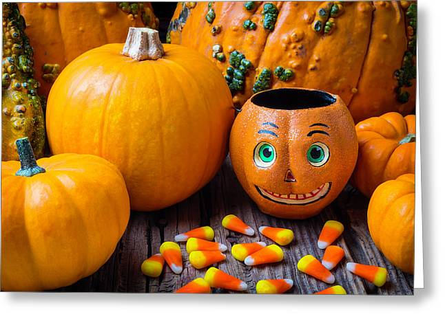 Punkin Face And Candy Corn Greeting Card