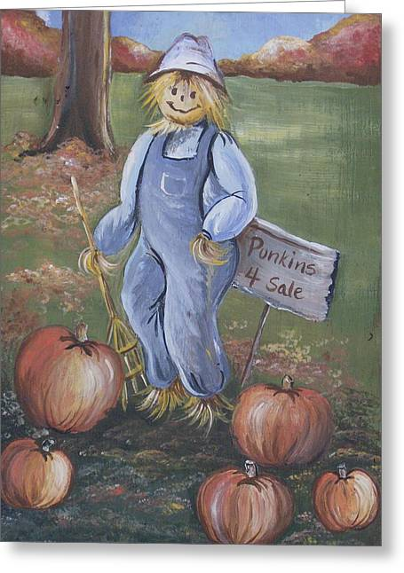 Punkins For Sale Greeting Card by Leslie Manley