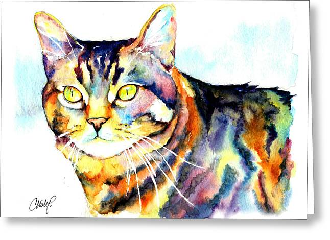 Punky Kitty  Greeting Card by Christy  Freeman