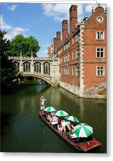 Punting By The Bridge Of Sighs At St Johns College Greeting Card by Liz Pinchen