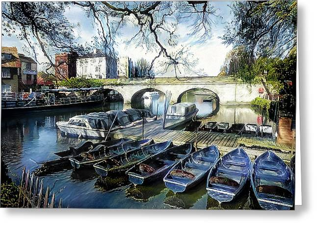 Greeting Card featuring the digital art Punting On The Thames by Pennie McCracken