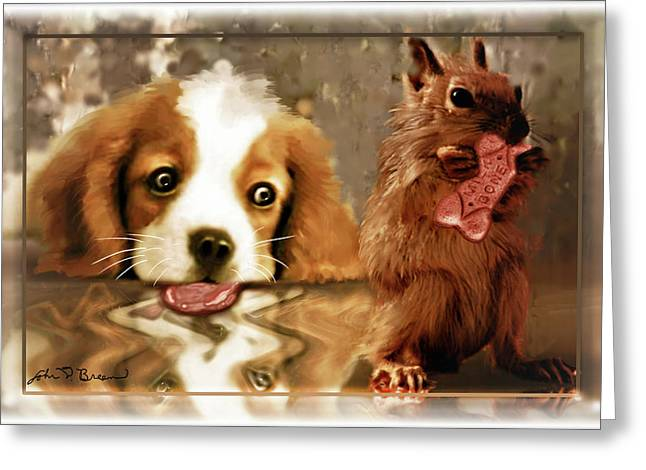 Pup And Squirrel Greeting Card by John Breen