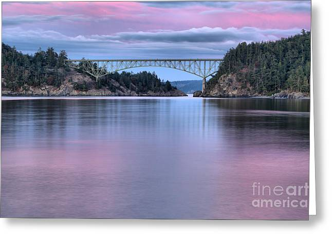 Purple Skies Over Deception Pass Greeting Card by Adam Jewell