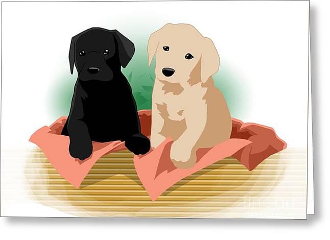 Puppy Basket Greeting Card