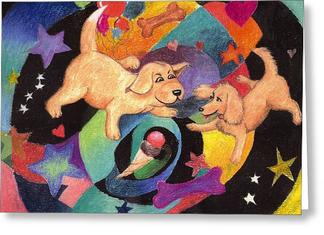 Puppies Pastels Greeting Cards - Puppy Dog Dream Greeting Card by Larry Whitler