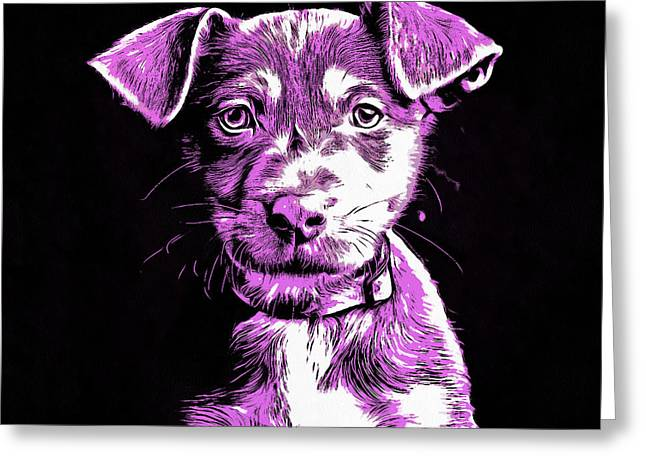 Puppy Dog Graphic Novel Drawing IIi Greeting Card by Edward Fielding