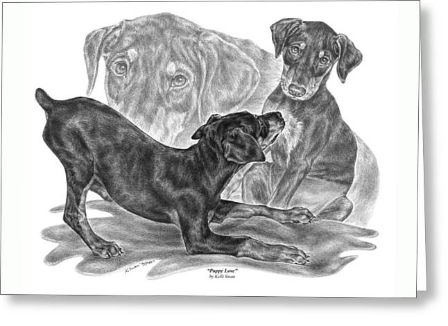 Puppy Love - Doberman Pinscher Pup Greeting Card by Kelli Swan