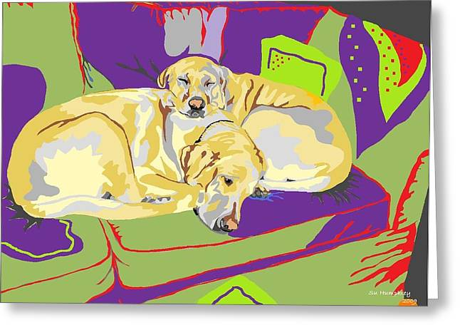 Puppy Pile Of Two Greeting Card by Su Humphrey
