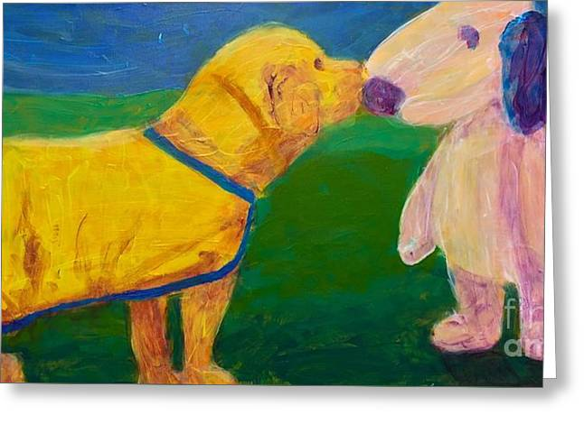 Greeting Card featuring the painting Puppy Say Hi by Donald J Ryker III