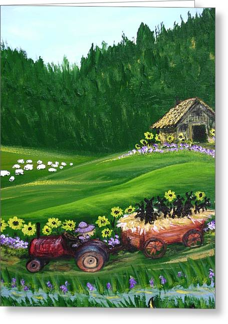Pups First Hayride Greeting Card by Laura Johnson