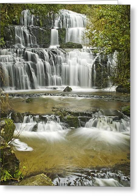Purakanui Falls Greeting Card by Andrea Cadwallader