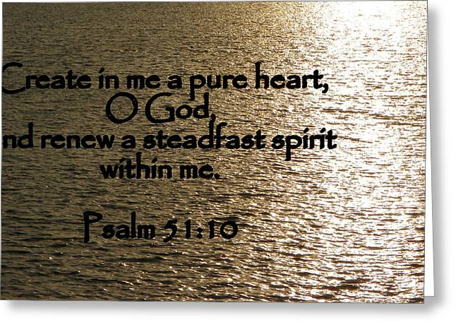 Bible Scripture Canvas Greeting Cards - Pure Heart Greeting Card by Sheri McLeroy