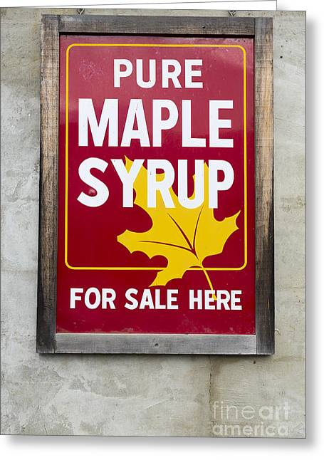 Pure Maple Syrup For Sale Here Sign Greeting Card by Edward Fielding