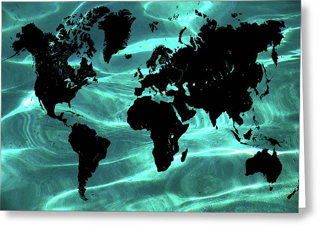Pure Ocean World Map Greeting Card