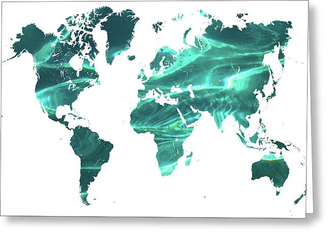 Pure Ocean Worldly Map 1 Greeting Card