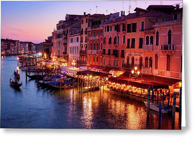 Cityscape From The Rialto In Venice, Italy Greeting Card