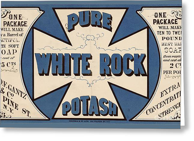 Pure White Rock Potash Vintage Product Label Greeting Card by Edward Fielding