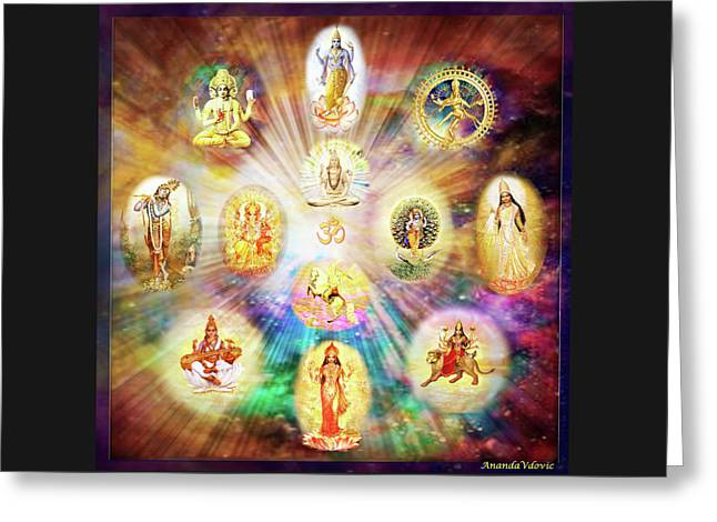Purnamida Purnamidam - One Divine Source For All Gods And Goddesses Greeting Card by Ananda Vdovic