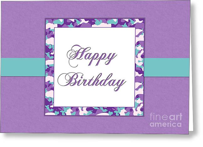 Greeting Card featuring the digital art Purp Teal Camo Birthday by JH Designs