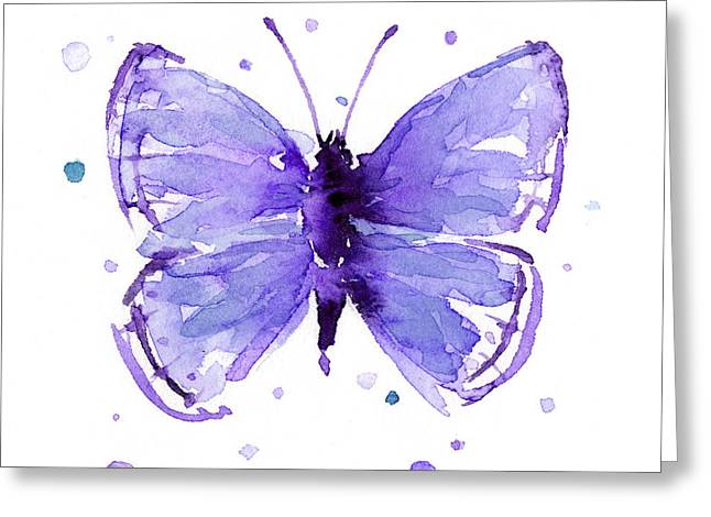 Purple Abstract Butterfly Greeting Card